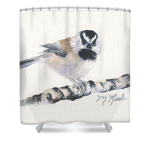 Backyard Busybody - Mountain Chickadee Shower Curtain