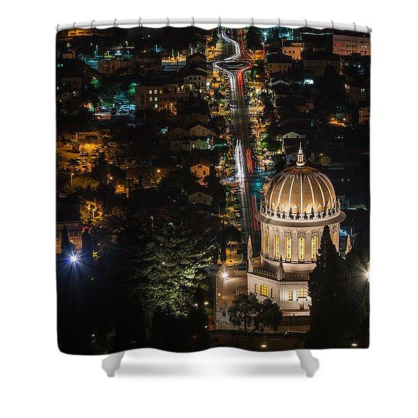 Baha'i Temple At Night Shower Curtain