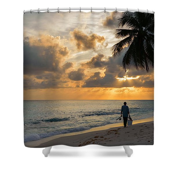 Shower Curtain featuring the photograph Bajan Fisherman by Garvin Hunter