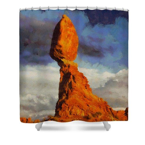 Balanced Rock At Sunset Digital Painting Shower Curtain
