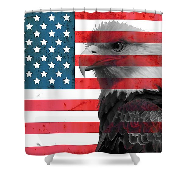 Bald Eagle American Flag Shower Curtain
