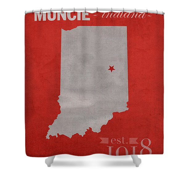 Ball State University Cardinals Muncie Indiana College Town State Map Poster Series No 017 Shower Curtain