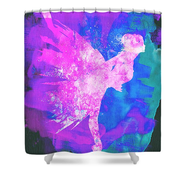 Ballerina On Stage Watercolor 1 Shower Curtain