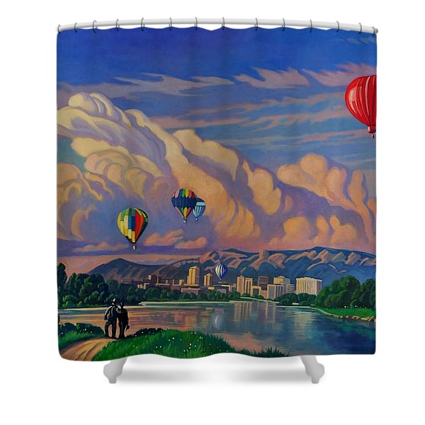Ballooning On The Rio Grande Shower Curtain