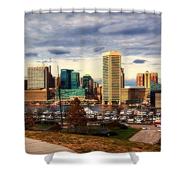 Baltimore Inner Harbor Skyline Panorama Shower Curtain