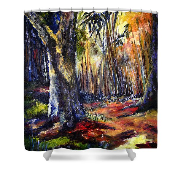 Bamboo Garden With Bunny Shower Curtain
