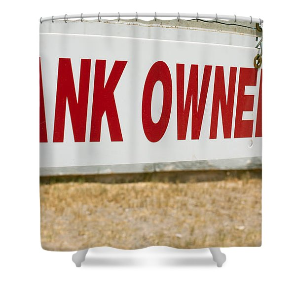 Shower Curtain featuring the photograph Bank Owned Real Estate Sign by Gunter Nezhoda