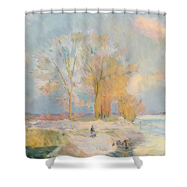 Banks Of The Seine And Vernon In Winter Shower Curtain