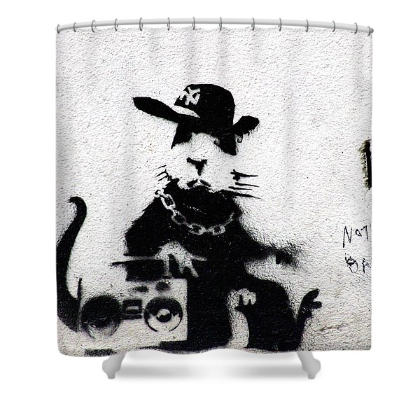 Banksy Boombox  Shower Curtain