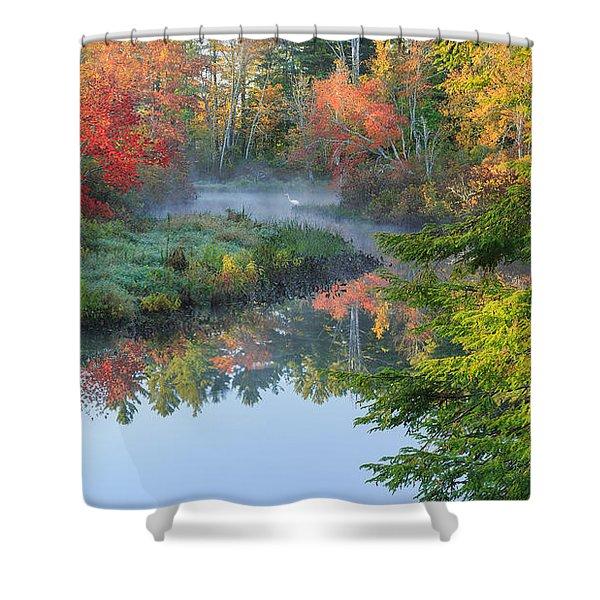 Bantam River Autumn Shower Curtain