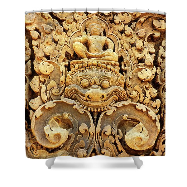 Banteay Srei Carving 01 Shower Curtain