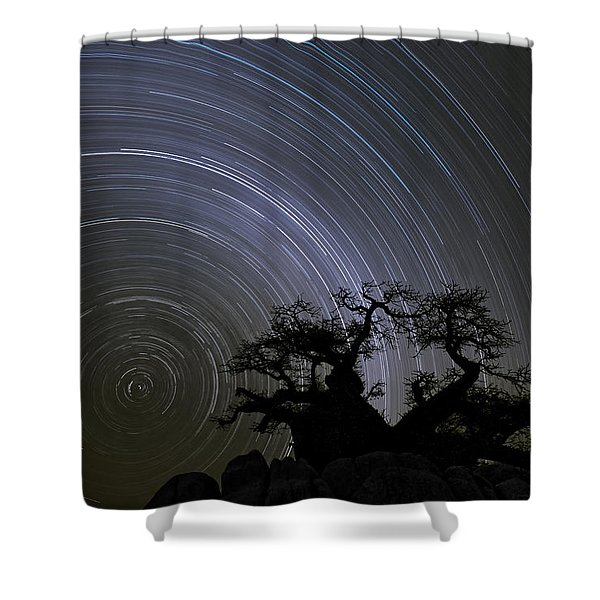 Baobab And Star Trails  Botswana Shower Curtain