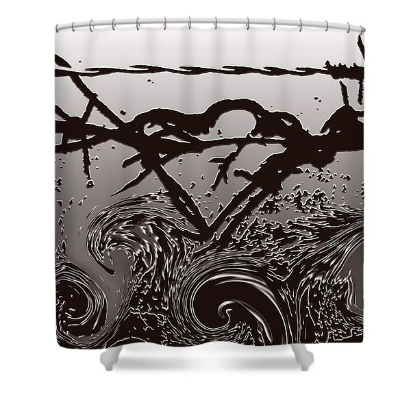 Barbedwire Love - Heartbreak Shower Curtain