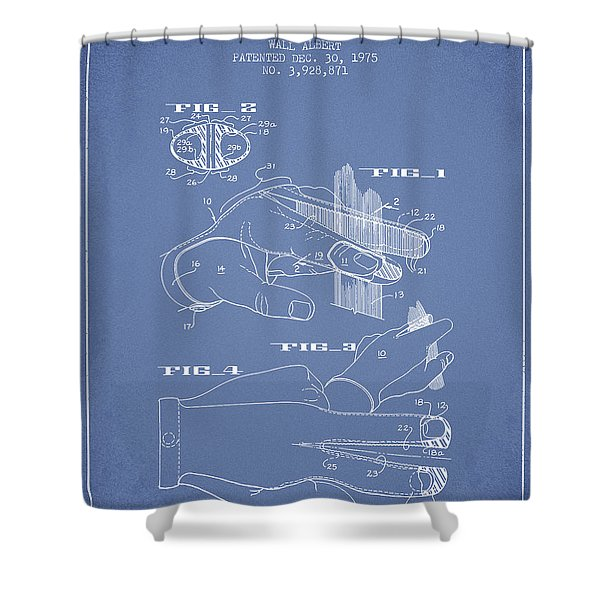 Barbers Glove Patent From 1975 - Light Blue Shower Curtain