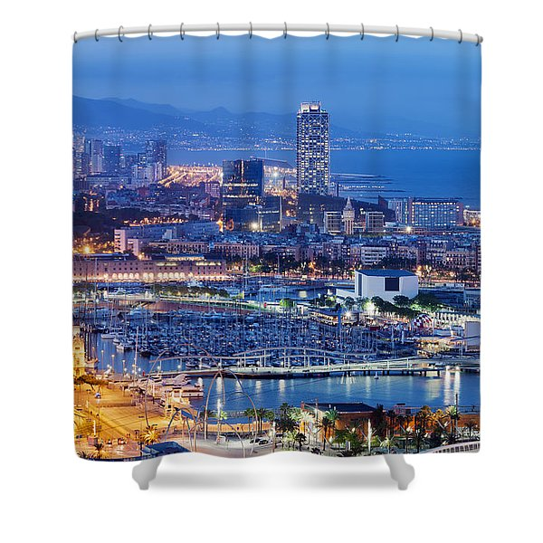Barcelona Cityscape By Night Shower Curtain