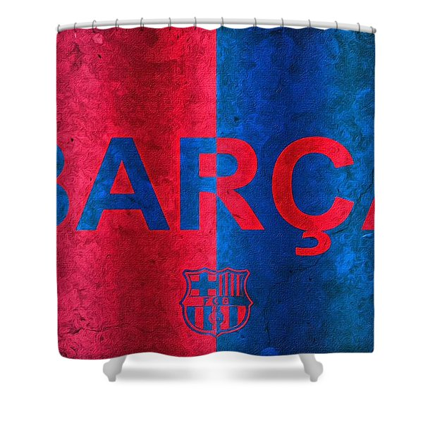 Barcelona Football Club Poster Shower Curtain