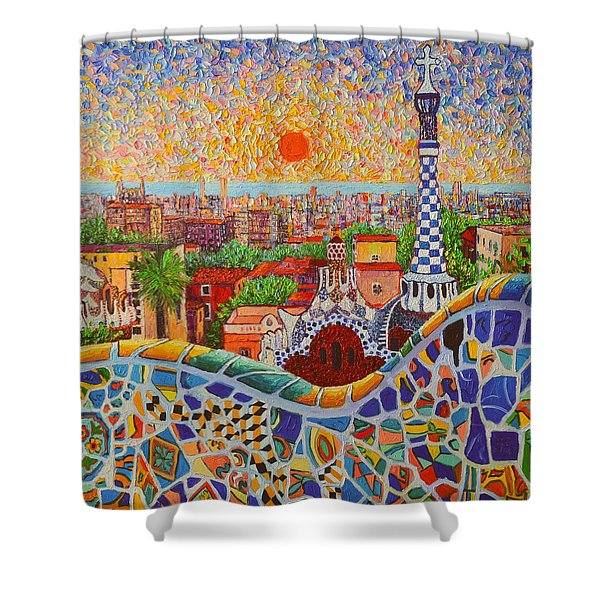 Barcelona Sunrise Light - View From Park Guell Of Gaudi - Square Format Shower Curtain