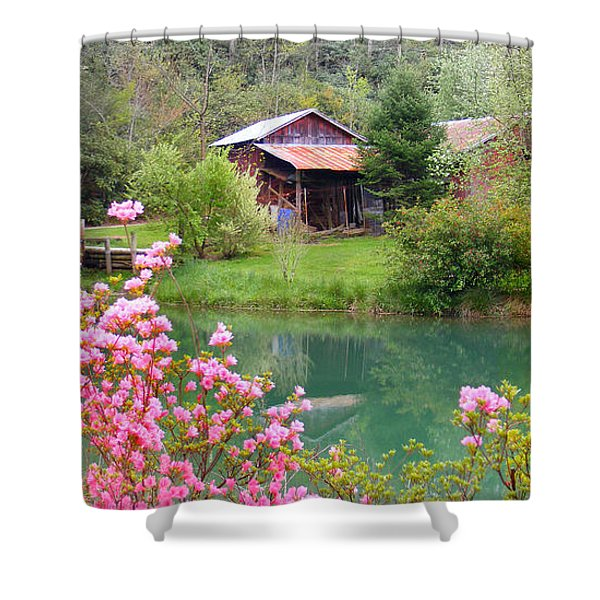 Barn And Flowers Near Pond Shower Curtain