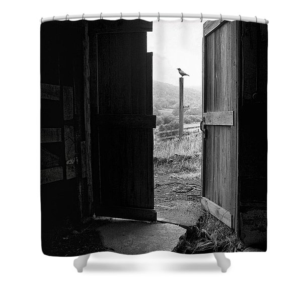 Barn Door - View From Within - Old Barn Picture Shower Curtain