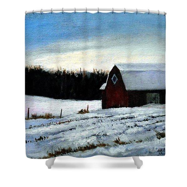 Tree Farm Barn In The Snow Shower Curtain