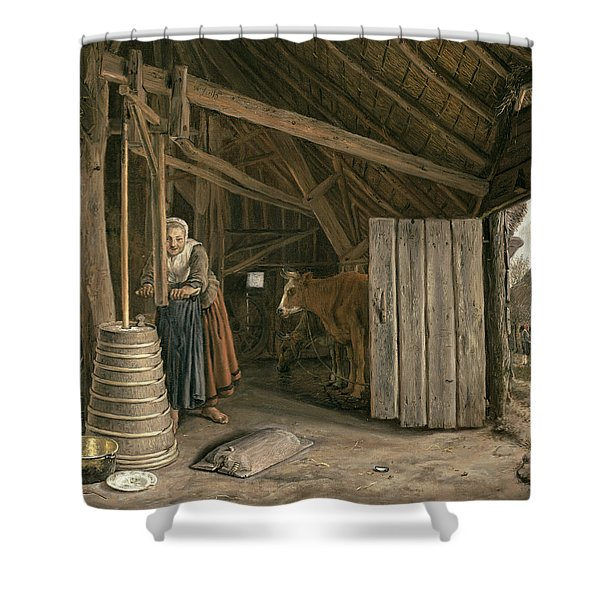 Barn Interior With A Maid Churning Butter Oil On Canvas Shower Curtain