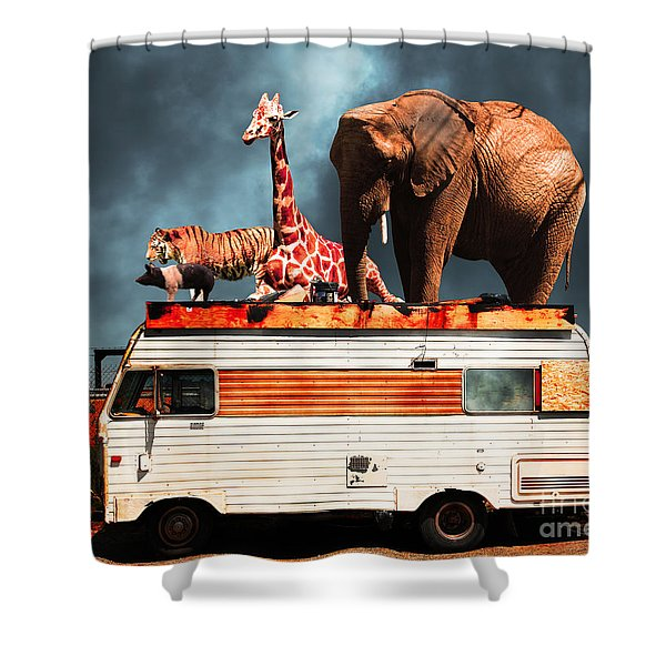 Barnum And Baileys Fabulous Road Trip Vacation Across The Usa Circa 2013 5d22705 With Text Shower Curtain