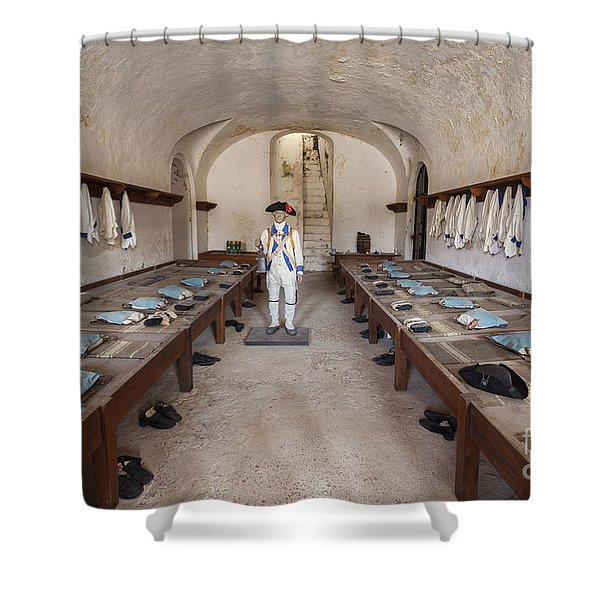 Shower Curtain featuring the photograph Barracks At Fort San Cristobal by Bryan Mullennix