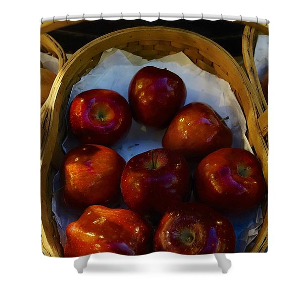 Basket Of Red Apples Shower Curtain