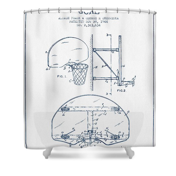 Basketball Goal Patent From 1944 - Blue Ink Shower Curtain