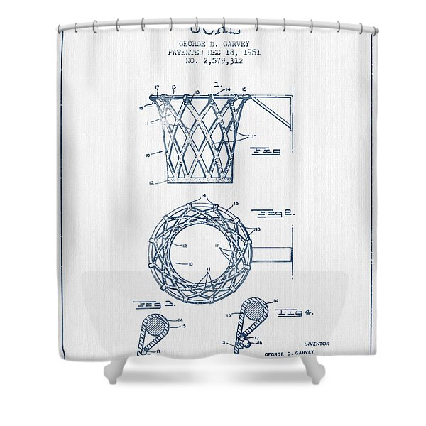 Basketball Goal Patent From 1951 - Blue Ink Shower Curtain