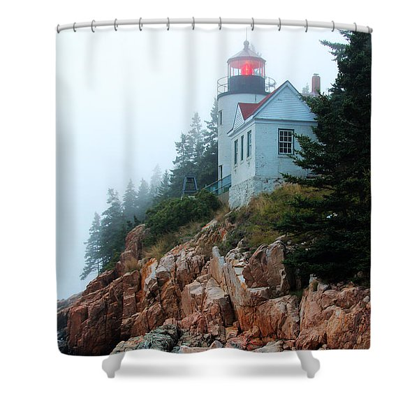 Shower Curtain featuring the photograph Bass Harbor Head Lighthouse by Jemmy Archer