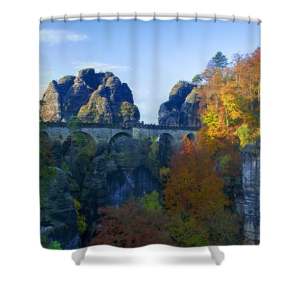 Bastei Bridge In The Elbe Sandstone Mountains Shower Curtain
