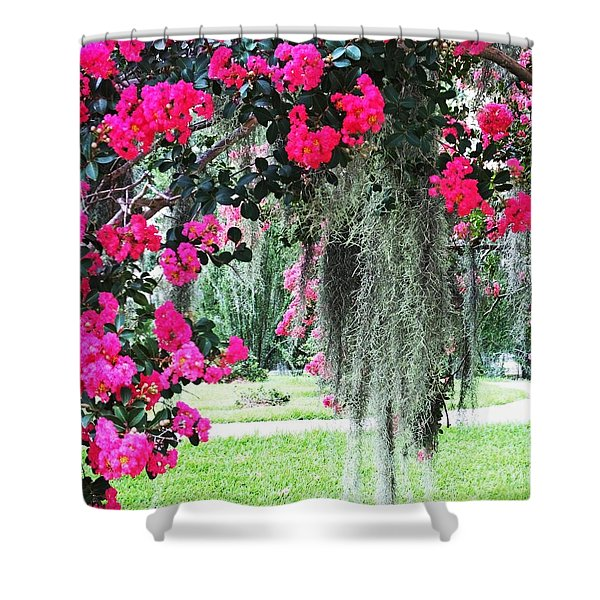 Baton Rouge Louisiana Crepe Myrtle And Moss At Capitol Park Shower Curtain
