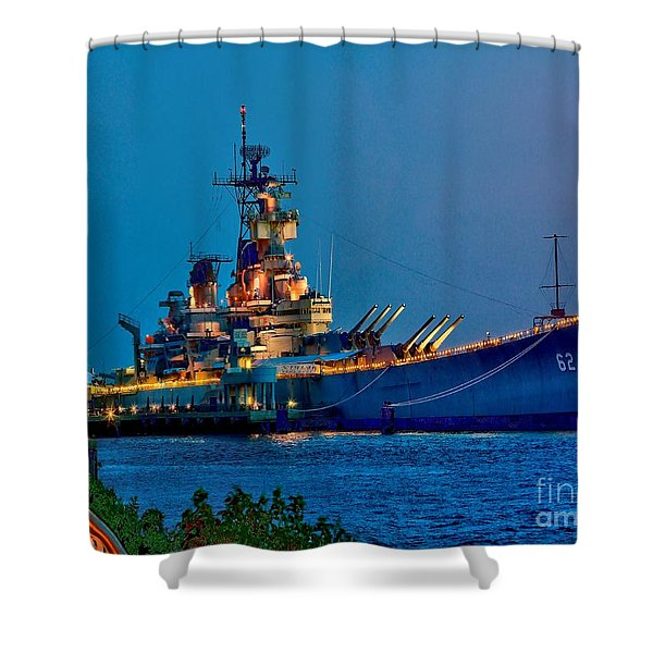 Battleship New Jersey At Night Shower Curtain