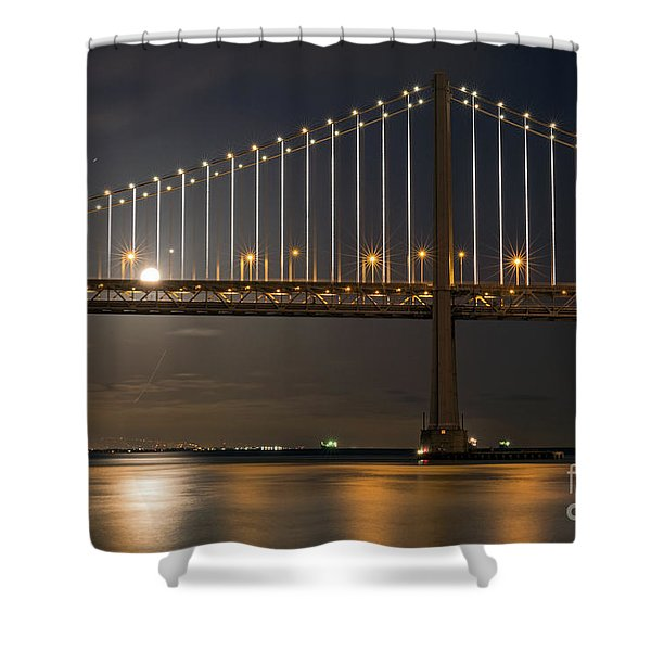 Bay Bridge Moon Rising Shower Curtain
