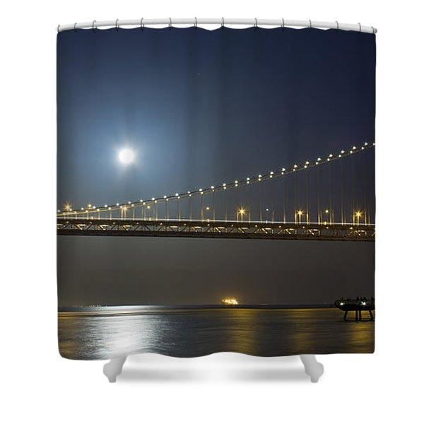 Bay Bridge Supermoon Shower Curtain