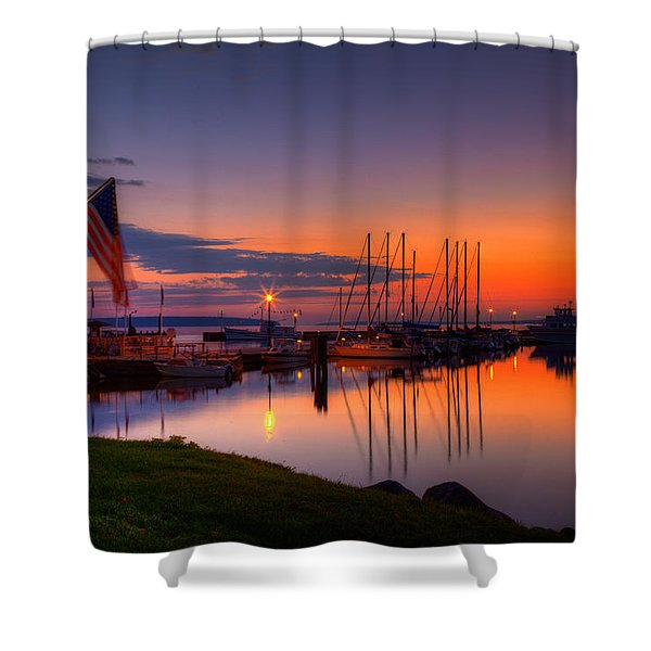 Bayfield Wisconsin Fire In The Sky Over The Harbor Shower Curtain