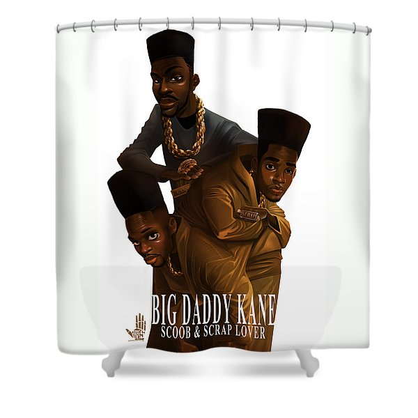 Shower Curtain featuring the drawing Bdk White Bg by Nelson Dedos Garcia