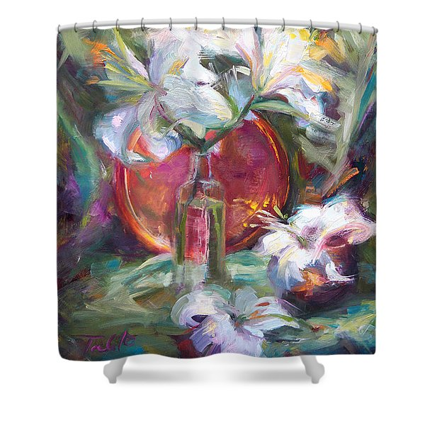 Be Still - Casablanca Lilies With Copper Shower Curtain