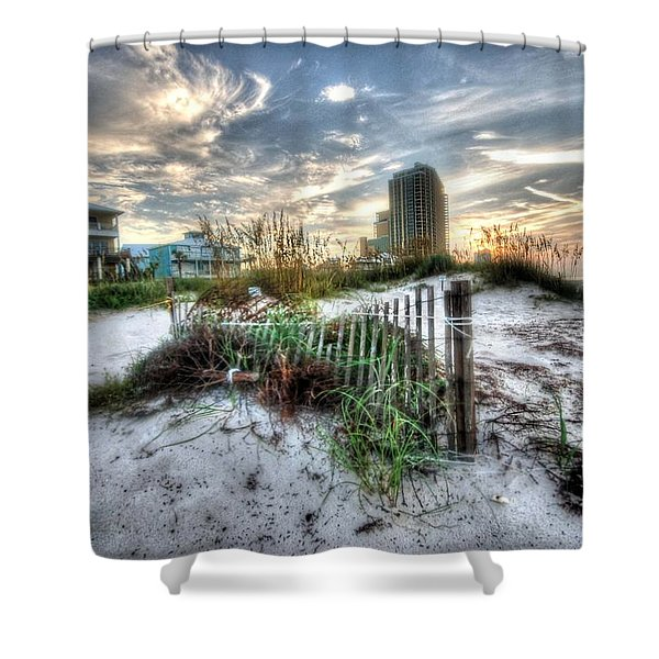 Beach And Buildings Shower Curtain