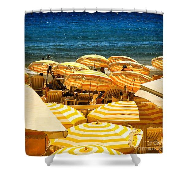 Beach In Cannes  Shower Curtain