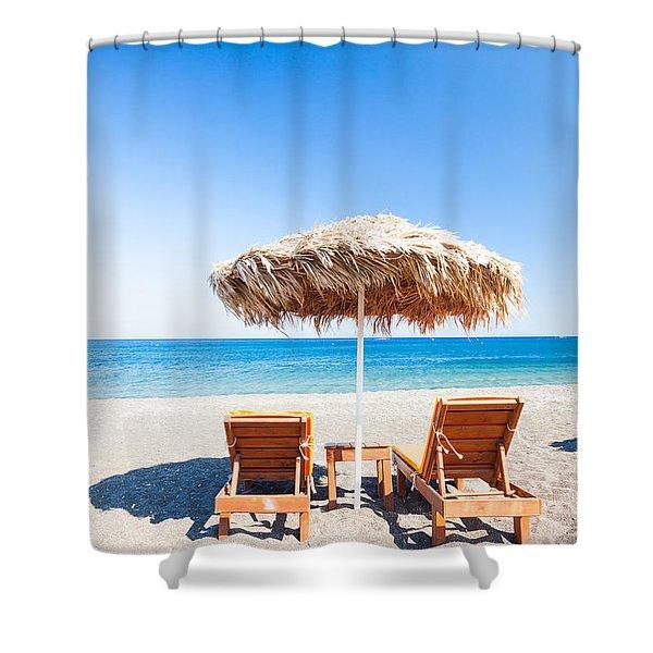 Beach In The Mediterranean Sea Shower Curtain