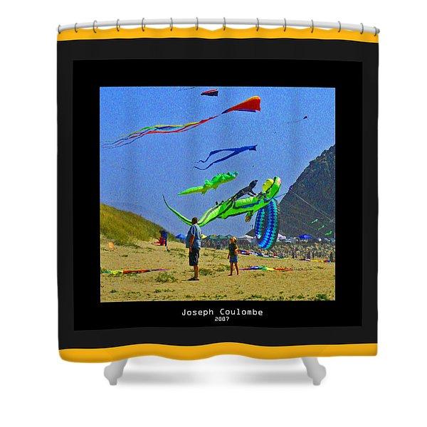 Beach Kids 4 Kites Shower Curtain