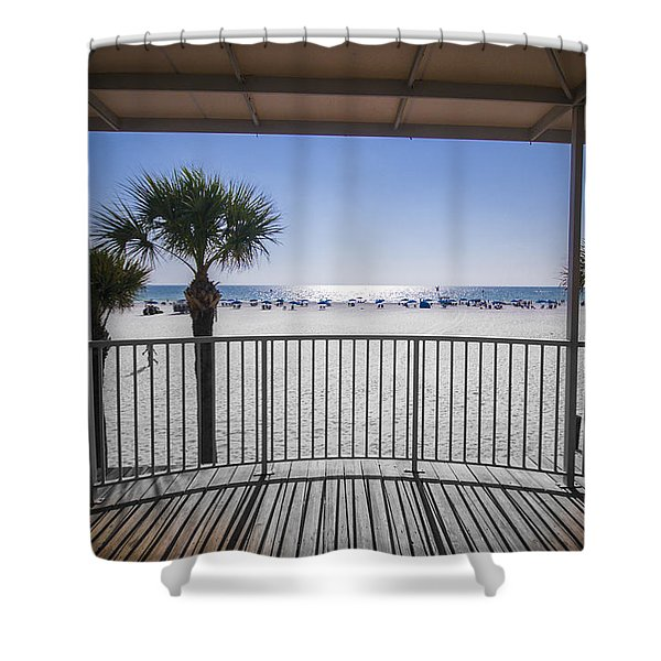 Shower Curtain featuring the photograph Beach Patio by Carolyn Marshall