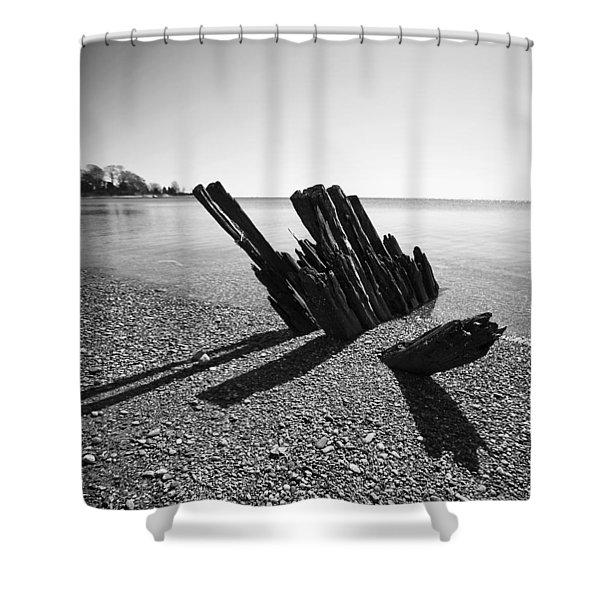 Beach Pilings Shower Curtain