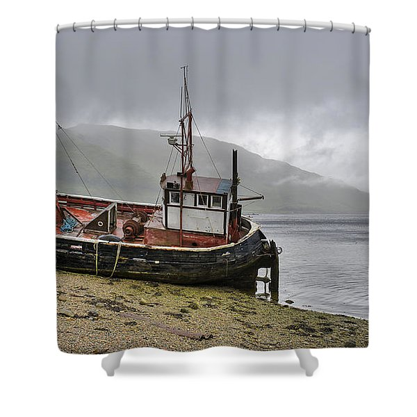 Beached Fishing Boat Shower Curtain
