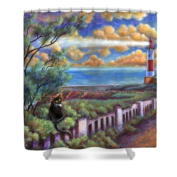 Beacons In The Moonlight Shower Curtain
