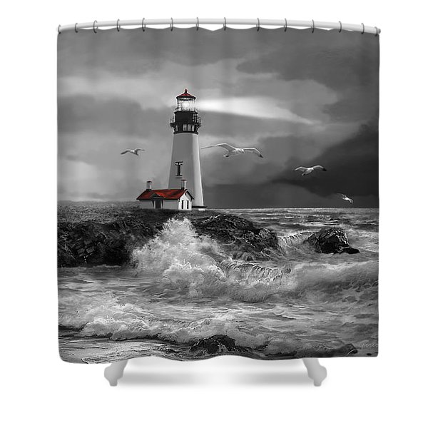 Beam Of Hope In Black And White Shower Curtain