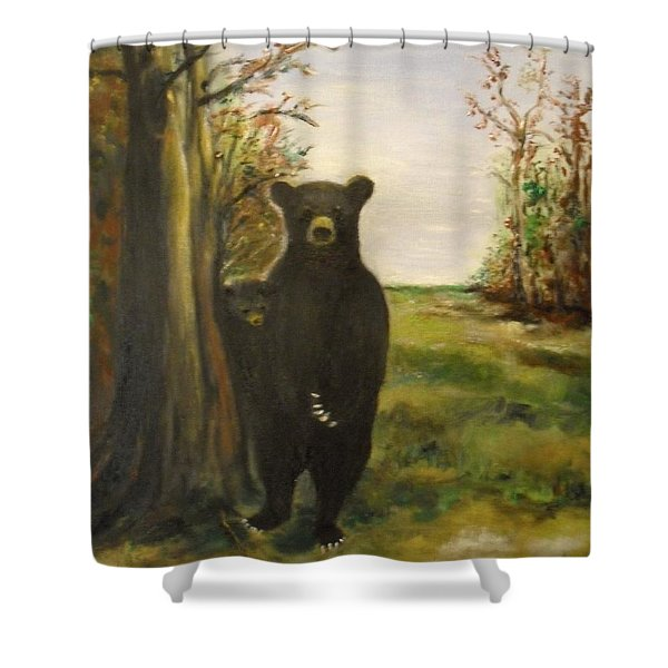 Shower Curtain featuring the painting Bear Necessity by Laurie Lundquist