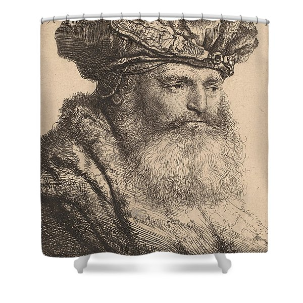 Bearded Man In A Velvet Cap With A Jewel Clasp Shower Curtain